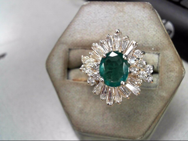 Green Stone Lady's Stone & Diamond Ring 28 Diamonds .56 Carat T.W.