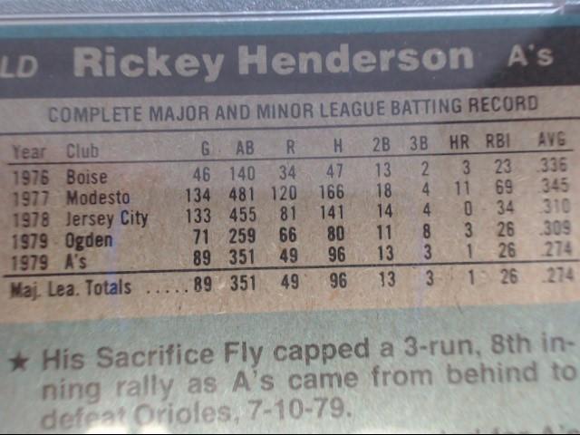 TOPPS RICKEY HENDERSON #482 PSA NM7
