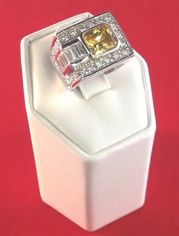 Yellow Stone Lady's Silver & Stone Ring 925 Silver 9.91g Size:5.8
