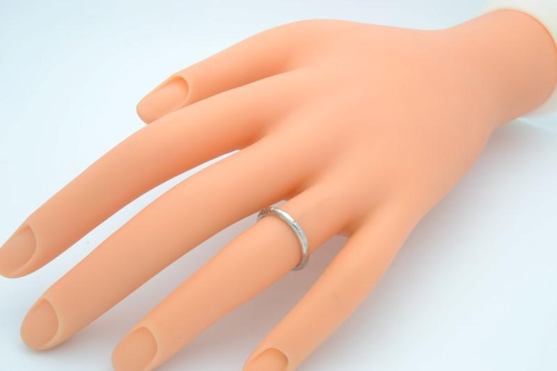 SOLID 18K WHITE GOLD ESTATE WEDDING RING BAND DESIGN FINE SIZE 4.75