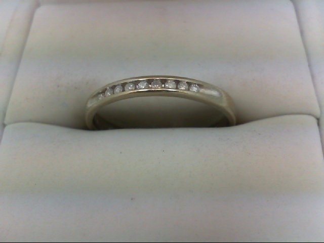 Lady's Diamond Wedding Band 9 Diamonds 0.18 Carat T.W. 10K White Gold 1.9g