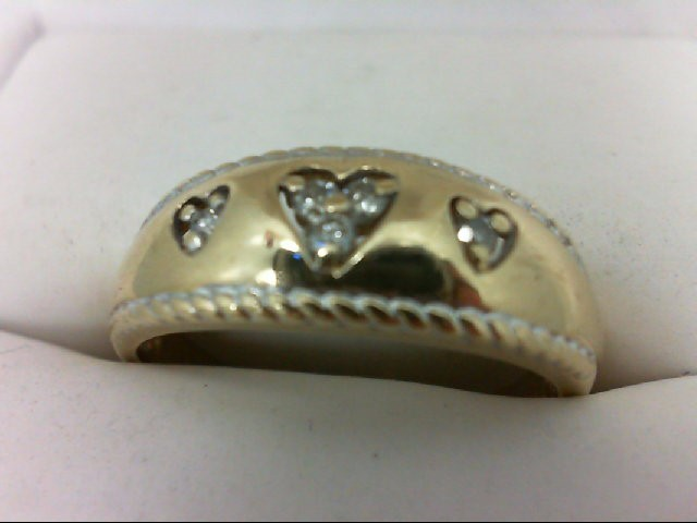 Lady's Diamond Fashion Ring 5 Diamonds 0.1 Carat T.W. 10K Yellow Gold 3.4g