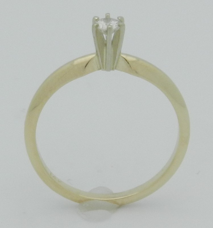 Lady's Diamond Solitaire Ring .14 CT. 14K Yellow Gold 1.9g Size:6.3