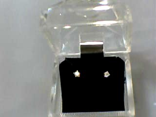 Gold-Diamond Earrings 2 Diamonds .12 Carat T.W. 14K Yellow Gold 0.2dwt