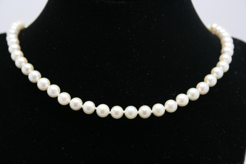 "19"" PEARL NECKLACE W/ 14K YG CLAPS"