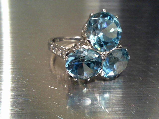 Synthetic Blue Zircon Lady's Platinum-Stone Ring 950 Platinum 11.8g