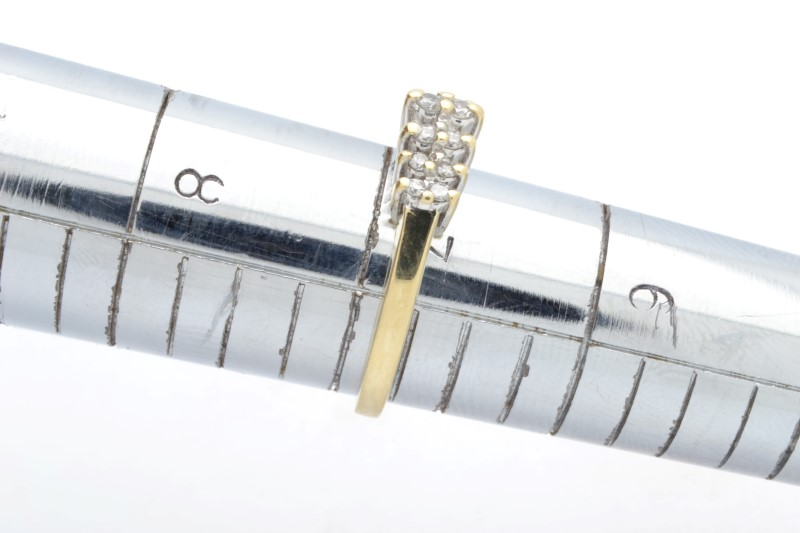 NATURAL DIAMOND 0.28 TCW ANNIVER WED RING BAND 14K GOLD 2.9g SIZE 7