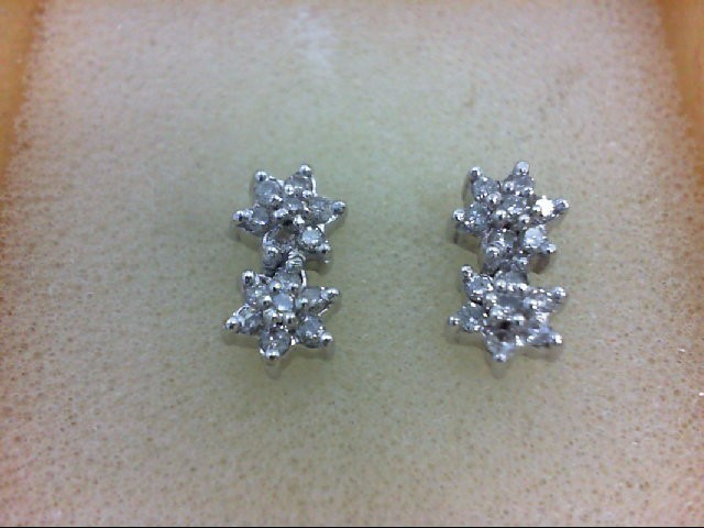 Gold-Diamond Earrings 28 Diamonds 0.56 Carat T.W. 14K White Gold 2.3g