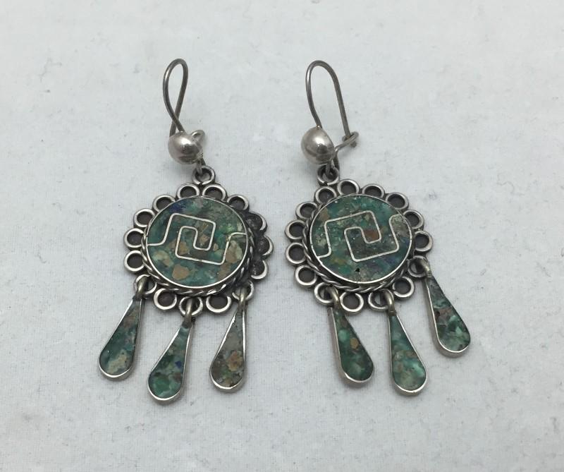 Sterling Silver Vintage Taxco EVM Dangle Chandelier Earrings Made In Mexico