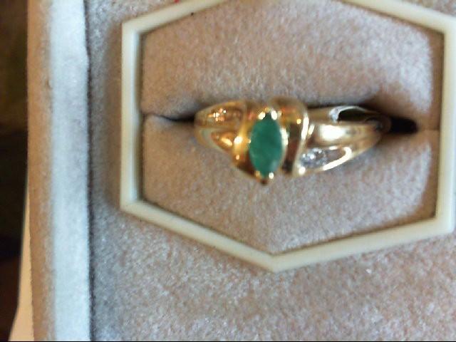 Synthetic Emerald Lady's Stone & Diamond Ring 4 Diamonds .04 Carat T.W.