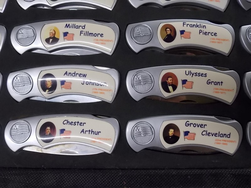 Set of 43 Presidential Folding Knives in Case