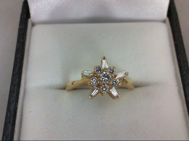 Lady's Diamond Cluster Ring 11 Diamonds 0.35 Carat T.W. 14K Yellow Gold 2.3g
