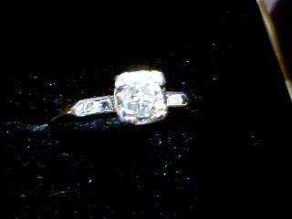 Lady's Diamond Engagement Ring 5 Diamonds .38 Carat T.W. 14K 2 Tone Gold 1.9g