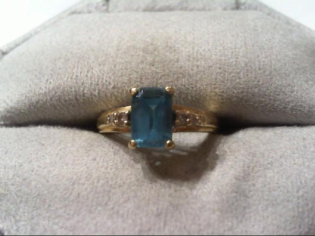 Blue Topaz Lady's Stone & Diamond Ring 4 Diamonds .06 Carat T.W.