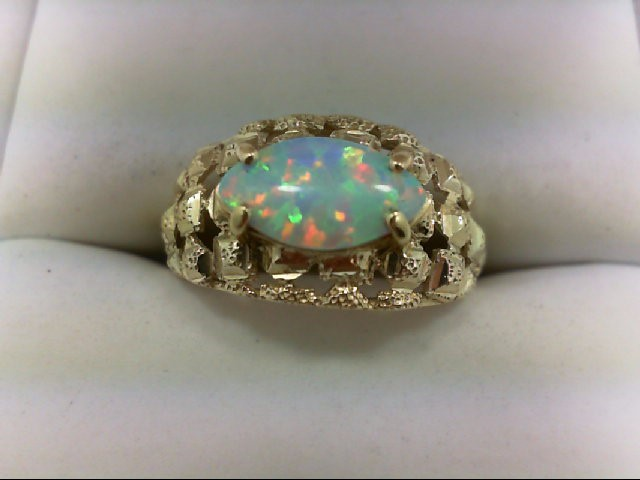 Opal Lady's Stone Ring 10K Yellow Gold 3.2g