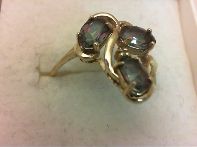 Blue Topaz Lady's Stone Ring 14K Yellow Gold 2.5g Size:8.5