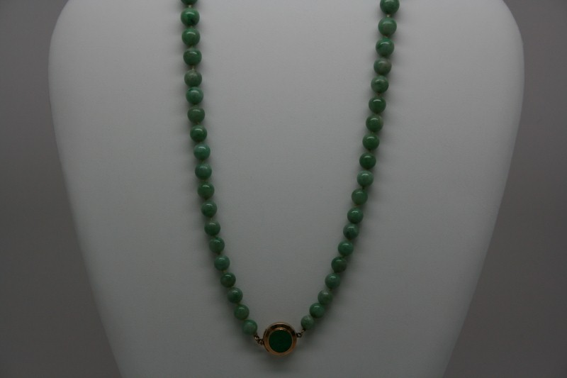 JADE NECKLACE W/ 14K YG CLAPS
