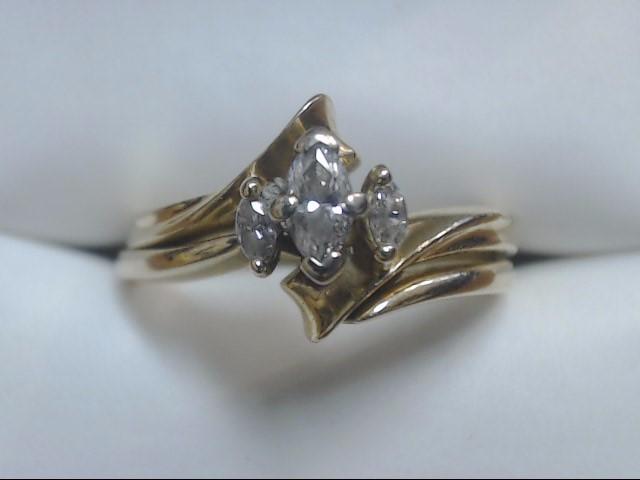 Lady's Diamond Wedding Set 3 Diamonds .22 Carat T.W. 14K Yellow Gold 4.2g Size:6