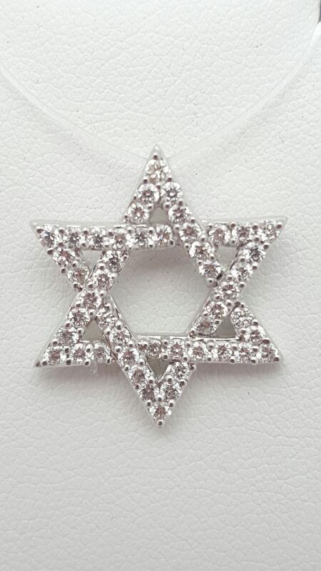 Gold-Multi-Diamond Pendant 48 Diamonds 0.81 Carat T.W. 14K White Gold 2.6g