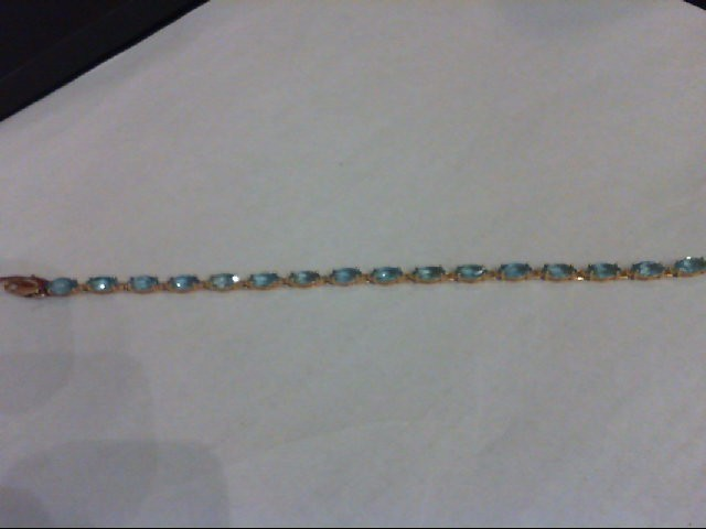 Blue Topaz Gold-Stone Bracelet 14K Yellow Gold 7g