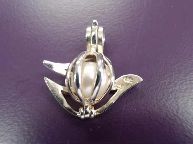Synthetic Pearl Silver-Stone Pendant 925 Silver 9.55g