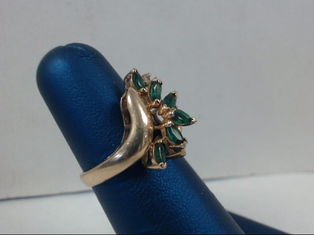 Green Stone Lady's Stone & Diamond Ring 2 Diamonds .04 Carat T.W.