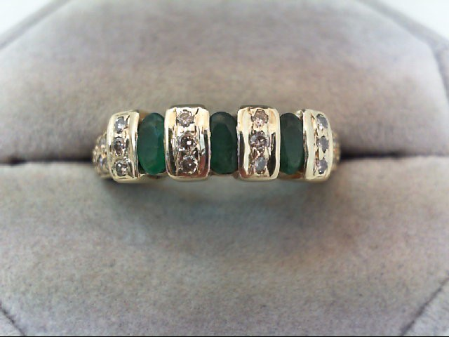 Emerald Lady's Stone & Diamond Ring 32 Diamonds .44 Carat T.W. 10K Yellow Gold