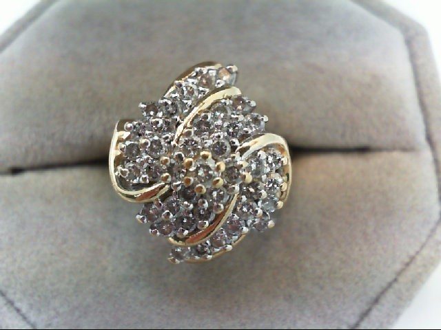 Lady's Diamond Cluster Ring 39 Diamonds .80 Carat T.W. 10K Yellow Gold 5.3g