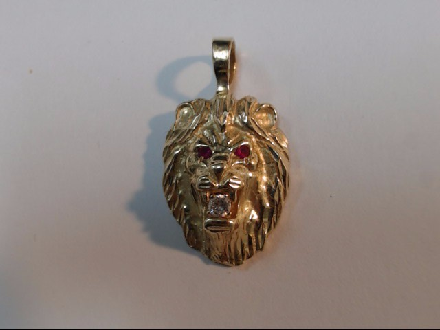 Gold-Diamond & Stone Pendant 0.07 CT. 14K Yellow Gold 3.9g