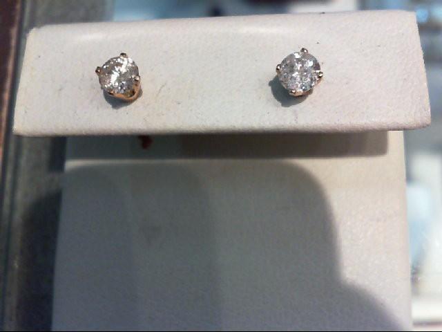 Gold-Diamond Earrings 2 Diamonds .60 Carat T.W. 14K Yellow Gold 0.08g