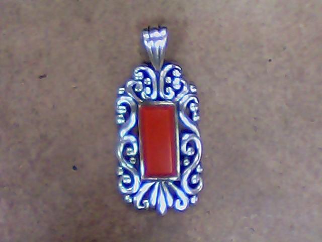 Red Stone Silver-Stone Pendant 925 Silver 5.5g