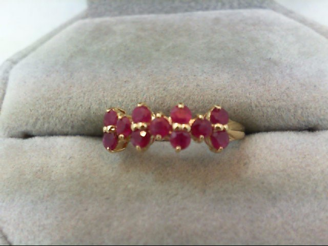 Ruby Lady's Stone Ring 10K Yellow Gold 1.4g