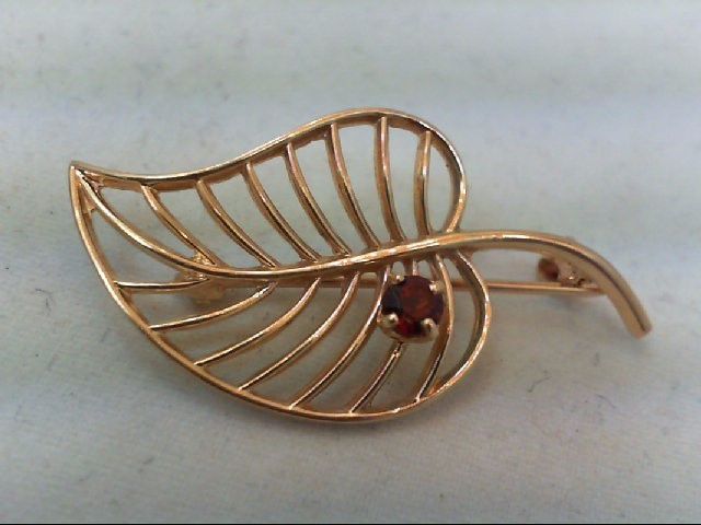 Almandite Garnet Gold-Stone Brooch 14K Yellow Gold 2.5g