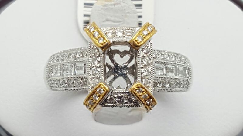 Lady's Diamond Engagement Ring 128 Diamonds 1.01 Carat T.W. 18K 2 Tone Gold 9.2g