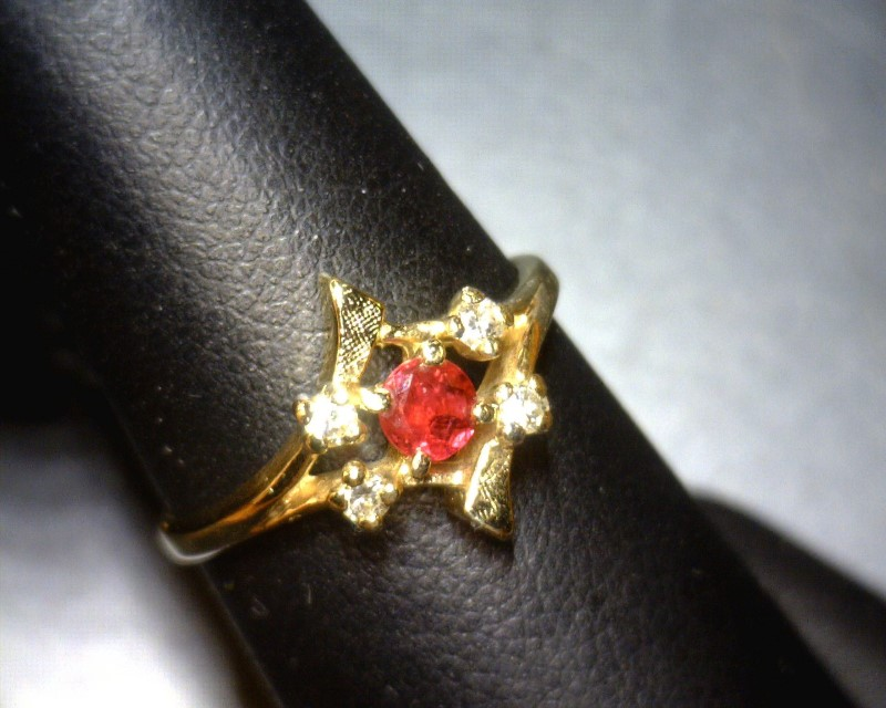 Ruby Lady's Stone & Diamond Ring 4 Diamonds .12 Carat T.W. 14K Yellow Gold