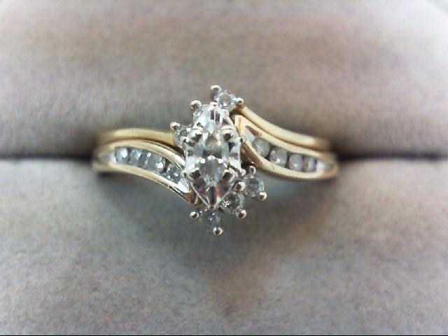 Lady's Diamond Wedding Set 15 Diamonds .44 Carat T.W. 10K Yellow Gold 3.6g