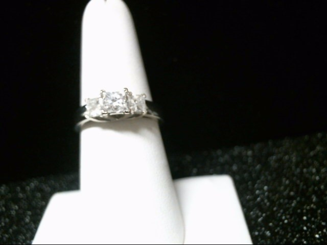 Lady's Diamond Engagement Ring 3 Diamonds 1.32 Carat T.W. 14K White Gold 5.3g