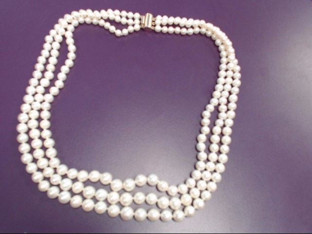 Pearl Stone Necklace Yellow Gold Filled 67g