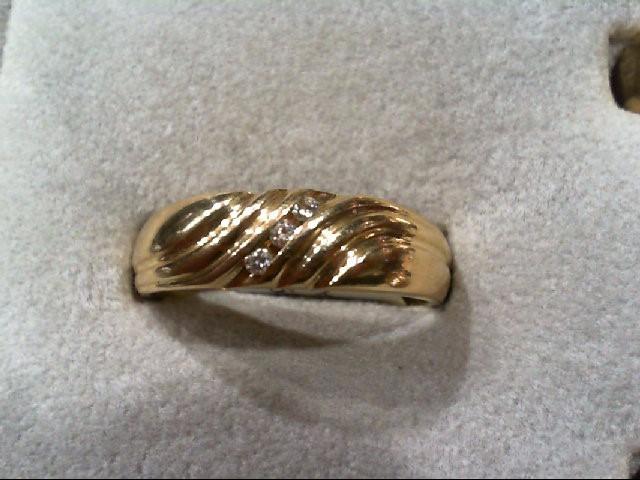 Gent's Gold-Diamond Wedding Band 3 Diamonds .06 Carat T.W. 14K Yellow Gold 7.3g