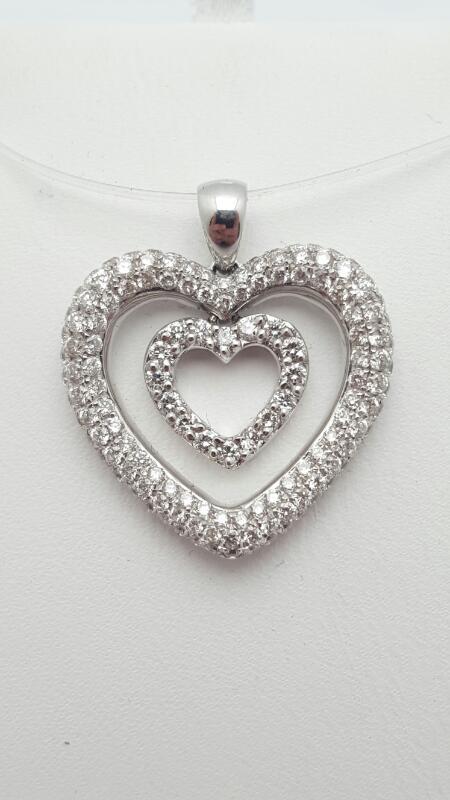14kw Pave Heart Pendant 101 Round Diamonds 1.01 Carat T.W. 14kw 3.2g