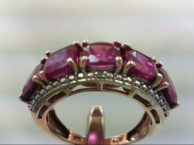Pink Stone Lady's Silver & Stone Ring 925 Silver 5.7g