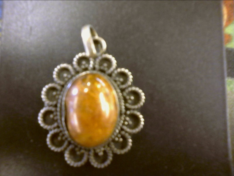 Amber Silver-Stone Pendant 925 Silver 2.7dwt