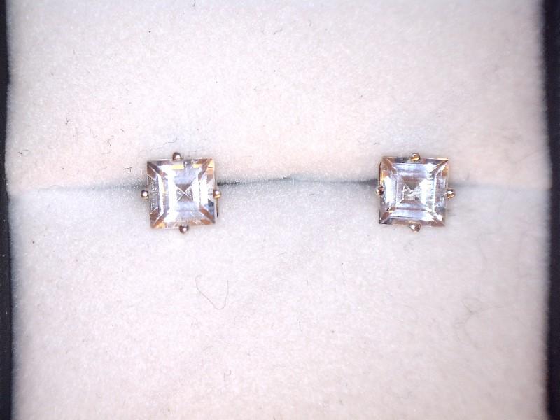 Cubic Zirconia Gold-Stone Earrings 14K White Gold 0.7dwt