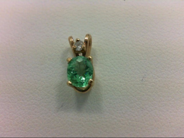 Emerald Gold-Diamond & Stone Pendant 0.02 CT. 14K Yellow Gold 0.41g