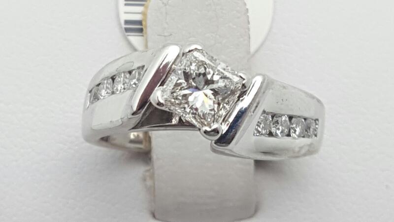 Lady's Diamond Engagement Ring 9 Diamonds .74 Carat T.W. 14K White Gold 5.9g