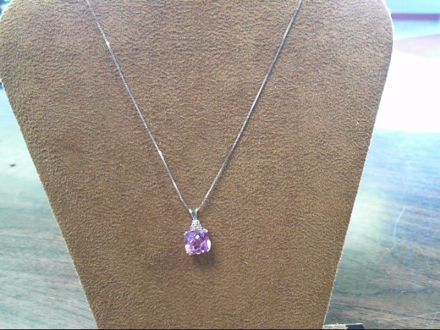 Pink Stone Stone Necklace 10K White Gold 2.6dwt