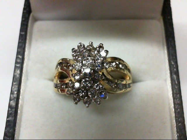 Lady's Diamond Cluster Ring 35 Diamonds 0.83 Carat T.W. 14K Yellow Gold 6g