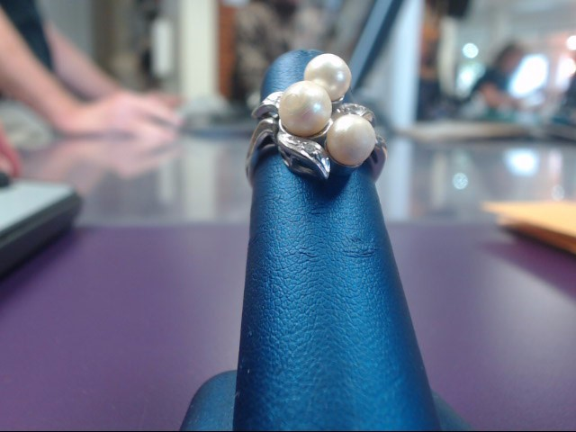Pearl Lady's Stone Ring 14K White Gold 6g