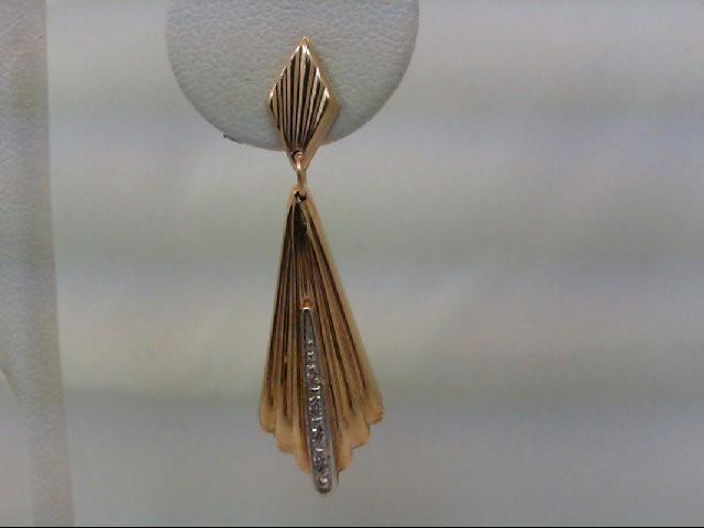 Gold-Diamond Earrings 8 Diamonds .08 Carat T.W. 14K Yellow Gold 3.1g