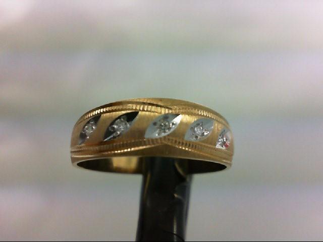 Lady's Diamond Wedding Band 5 Diamonds 0.05 Carat T.W. 14K Yellow Gold 2g Size:6